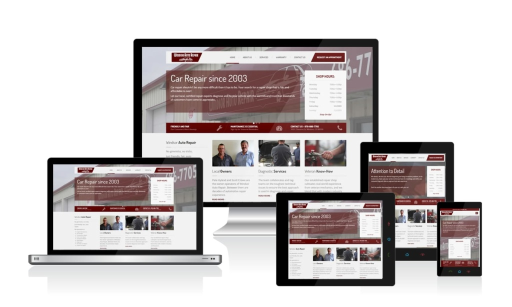 Windsor Auto Repair has a responsive WordPress website by Colorado Web Design